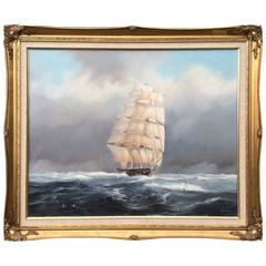 """""""Clipper at Full Sail"""" by David Bell Nautical Painting"""