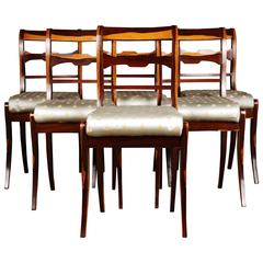 20th Century Six Chairs in the Biedermeier Style Rosewood Veneer on Beechwood