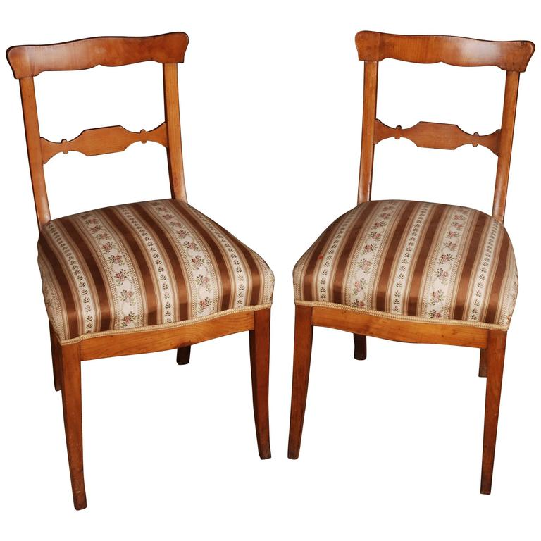Gentil Two Original Biedermeier Chairs, Circa 1825 Cherry Wood Warm Patina