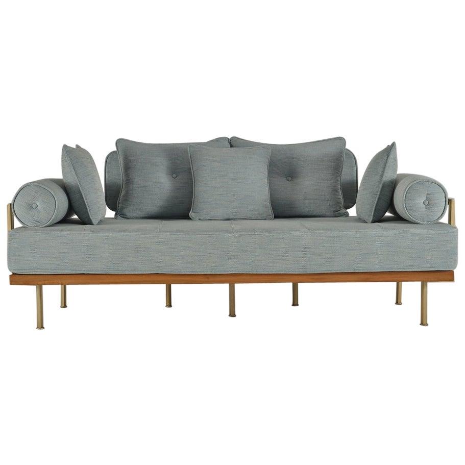 Bespoke Handmade Love-Seat, Reclaimed Teak and Solid Brass Frame, by Tendercool