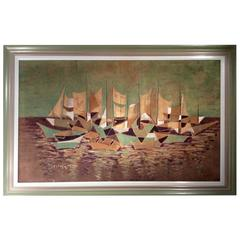 Art Deco Batik Art Work in Painted Wooden Frame