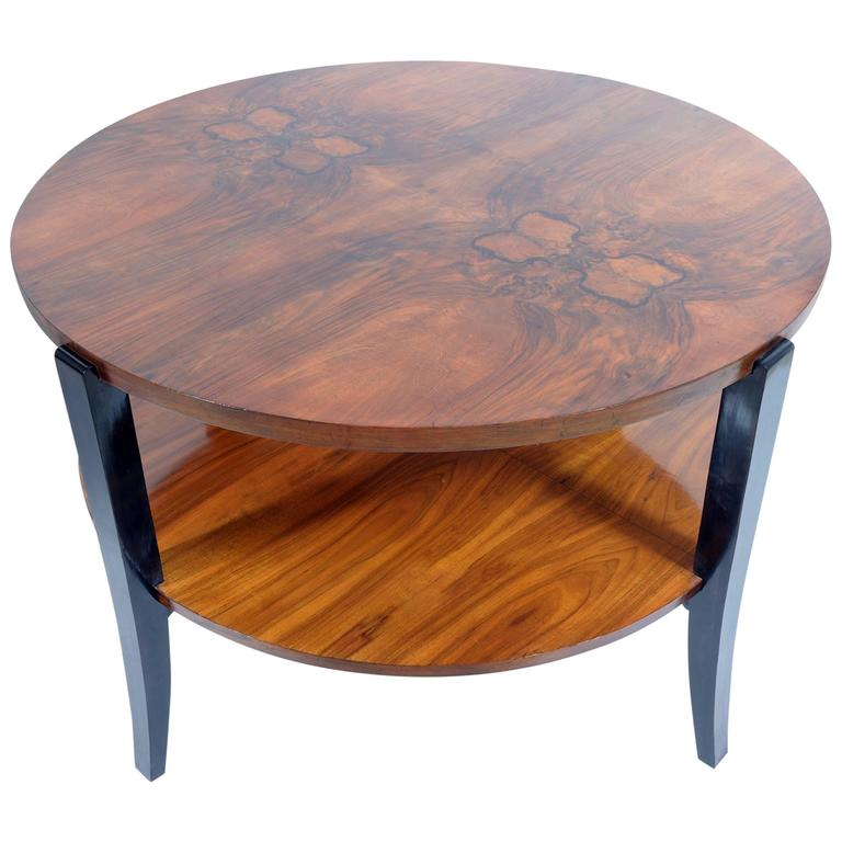 Art Deco Round Walnut Burl Double Shelves Coffee Table For