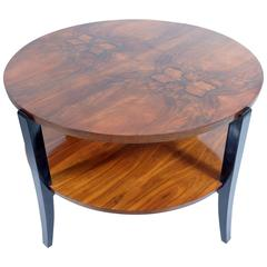 Big Art Deco Round Walnut Burl Double Shelves Coffee Table