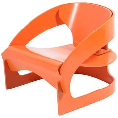 Iconic Mid-Century Orange Armchair by Joe Colombo for Kartell