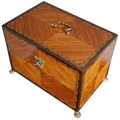 Antique Kingwood & Marquetry Inlaid Neoclassical Revival Box on Bronze Claw Feet