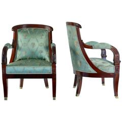 French Large Pair of Early 19th Century Empire Period Mahogany Armchairs