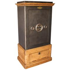 Large Black Steel, Iron and Wood Safe with Keys and Working Combination