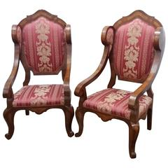 19th Century Couple of Thrones in Elm and Elm Root