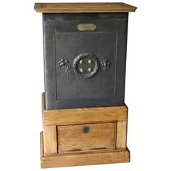 Black Steel, Iron and Wood Safe with All Keys and Working Combination by Petitje