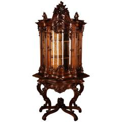 19th Century Frederickian Rococo Showcase Massive Walnut Wood with Warm Patina