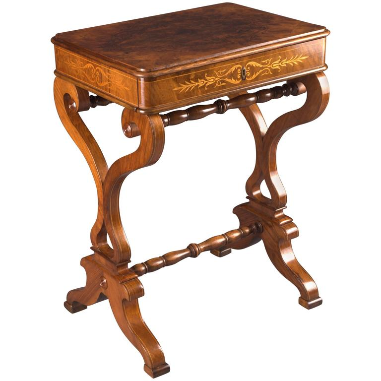 Great 19th Century Antique Biedermeier Sewing Table From Vienna Walnut Root  Veneer For Sale