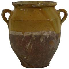 French 19th Century Glazed Terracotta Confit Jar