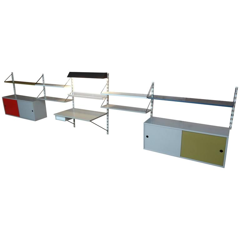 Extra Large 1960 Retro metal Pilastro Tomado shelving Five Section Wall Unit