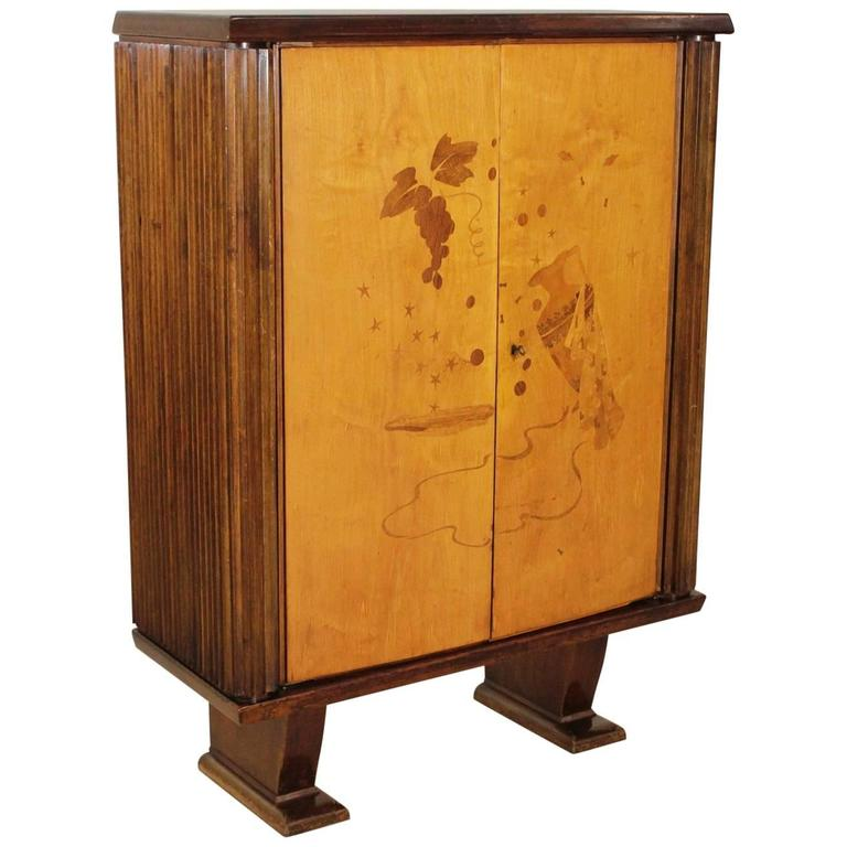 Cabinet walnut birch veneer inlaid decorations vintage for 1940s kitchen cabinets for sale