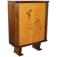 Cabinet Walnut Birch Veneer Inlaid Decorations Vintage, Italy, 1940s-1950s