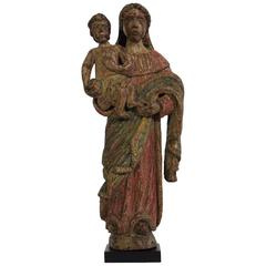 French 18th Century Painted Baroque Folk Art Wooden Madonna with Child