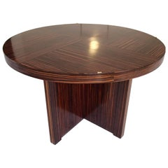 Huge Round Art Deco Ebene de Macassar Coffee Side Table