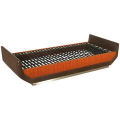 Formanova Bed Wood Fabric Leatherette Metal Vintage, Italy, 1960s-1970s