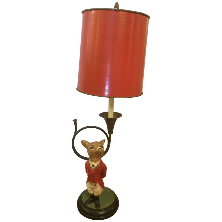 Whimsical fox and french horn table lamp at 1stdibs whimsical fox french horn table lamp for sale mozeypictures Gallery