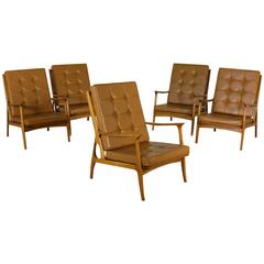 Group Five Chairs Beech Foam Leatherette Vintage, Italy, 1950s
