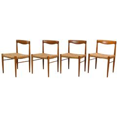 Set of Four 1960s Danish H.W. Klein for Bramim Teak & Rosewood Dining Chairs