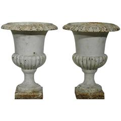 Pair of French 19th Century Cast Iron Garden Urns, Vases