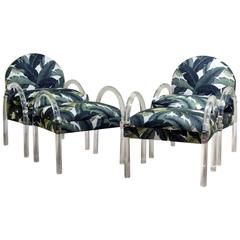 Pair of Lucite Lounge Chairs/Ottomans, Charles Hollis Jones for Pace Collection