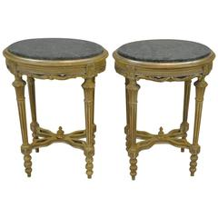 Pair of Louis XVI Carved Italian Oval Stands with Green Marble Tops