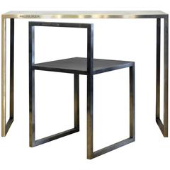 Original Philipp Plein Design Stainless Steel Bauhaus Style Work Table and Chair