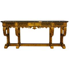 Palatial Early 20th Century Italian Carved Giltwood and Marble-Top Console Table