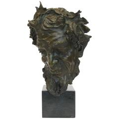 Italian Late 19th Century Bronze Head of Faun by Vincenzo Gemito