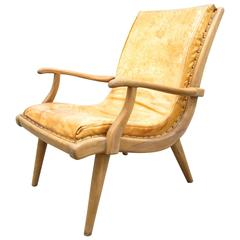 Mid-Century Modern Campeche Style Leather Chair