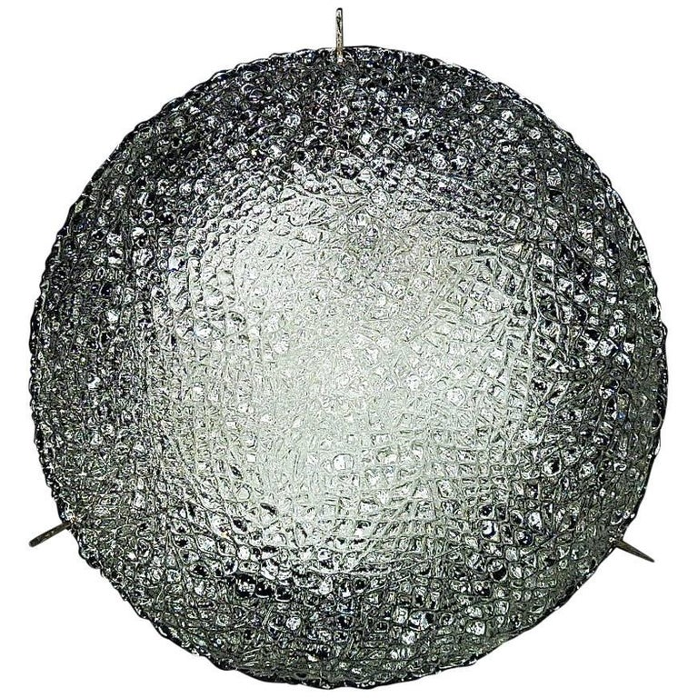 Modernist Kaiser Textured Murano Ice Glass Flush Mount or Wall Lamp, Germany For Sale