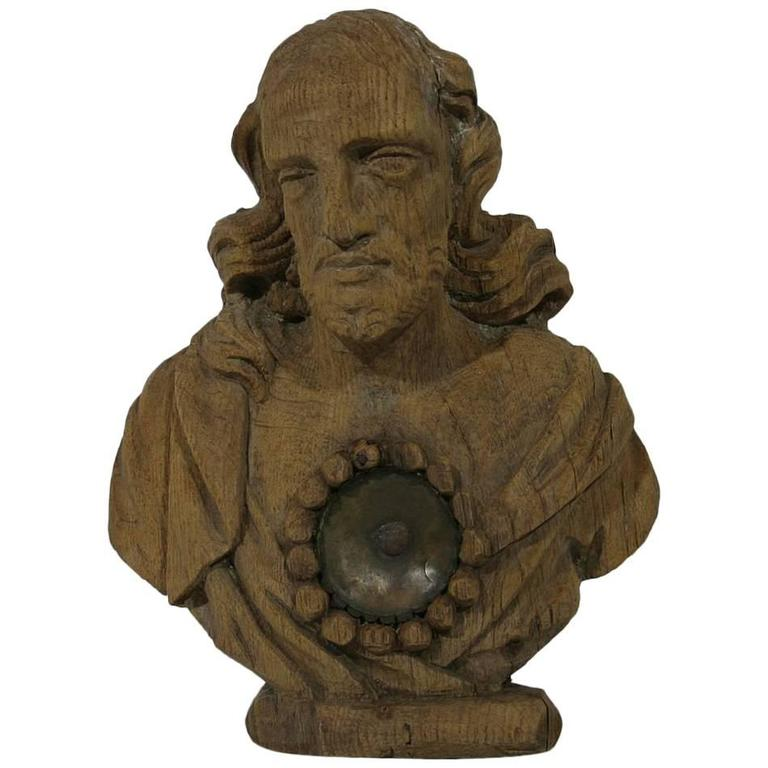 French 17th-18th Century Carved Wooden Reliquary Bust