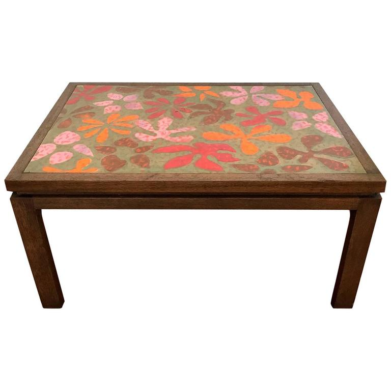 Enamel Tray Coffee Table: Rare Table With Enamel Copper Top By Harvey Probber For