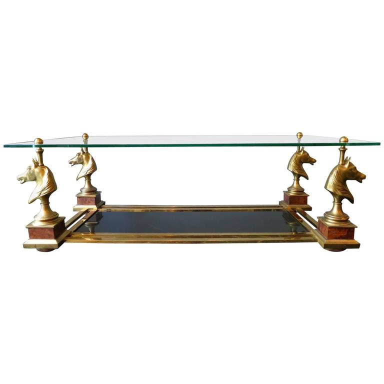 "French Brass ""Cheval"" Coffee Table by Maison Charles"