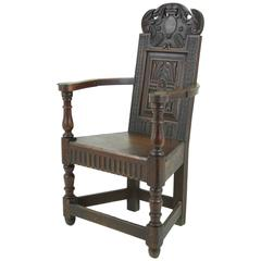 Early 19th Century Scottish Oak Carved Hall Chair, Solid Seat