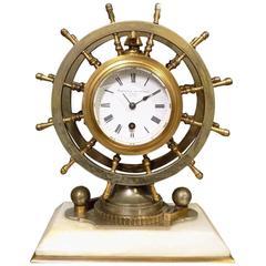 Rare Novelty Nautical Revolving Ships Wheel Desk Clock or Barometer