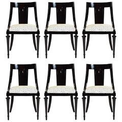 Set of Six Black Lacquered Regency Style Dining Chairs