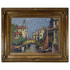 Original Oil on Canvas Venetian Canel Scene Gilded Carved Frame