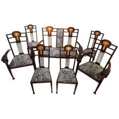 Mahogany Arts & Crafts Period Antique Salon Suite