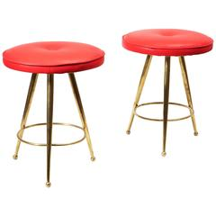 Pair of Italian Mid-Century Polished Brass Stools