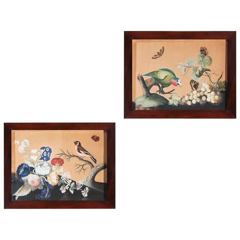 Pair of Samuel Dixon 'Basso Relievo' Watercolors of Birds and Flowers