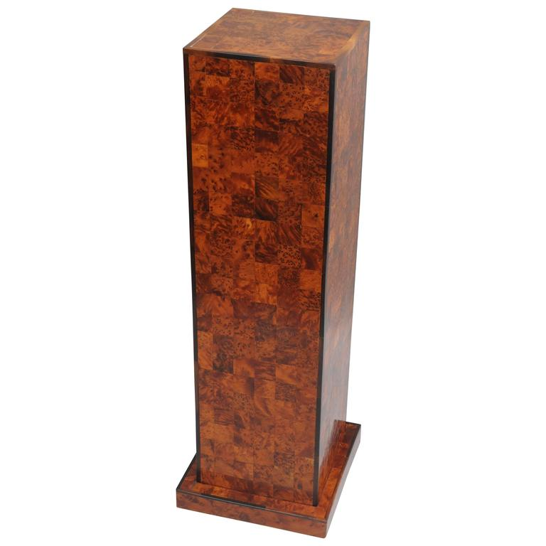 Square Column Trim : Burl wood patchwork pedestal stand and rosewood