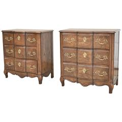 Pair of Baker Oak Side Stands / Chests Three Drawers French Style Burl Inlay Top