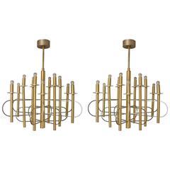 Pair of 1970s Brass Chandeliers by Gaetano Sciolari