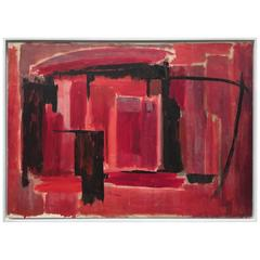 Mid-Century Abstract Painting in Black and Reds by Phillip Callahan