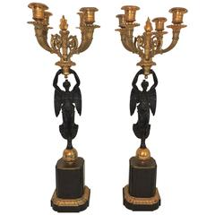 Wonderful Pair of French Empire Dore Bronze Patinated Figural Candelabras