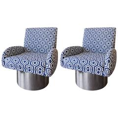 Pair of Swivel Chairs Attributed to Milo Baughman