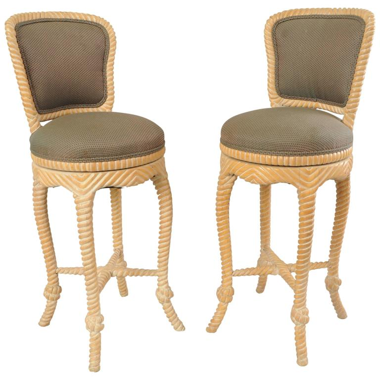pair of vintage italian carved wood rope and tassel swivel bar stools chairs 1